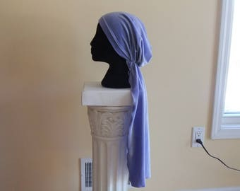 Lavender purple pre tied chemo head scarf chemo cap chemo hat headwear slip on headwrap short tails, velour scaf, velvet chemo headscarf
