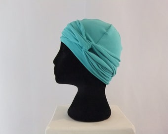 Dark seafoam chemo cap, chemo hat with headband, chemo headwear, headwrap UNLINED, cotton lycra knit, blue, green