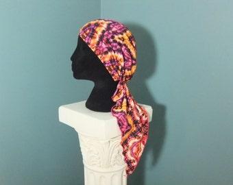 Pre tied chemo head scarf, pre-tied bandanna, chemo cap, chemo hat, tie dye kaleidoscope print chemo headwear