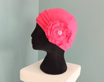 Pink cotton chemo cap chemo hat with headband chemo headwear headwrap lined women's hat