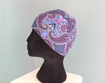 Purple chemo hat chemo cap beanie lined multi colored paisley pattern headwear, dark periwinkle, purple , black
