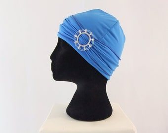 Bluebell blue chemo hat with buckle headband, chemo headwear, headwrap lined, chemo cap