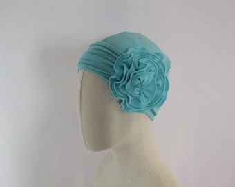 Women's hat, sky blue chemo hat, lightweight summer chemo cap with flower, chemo headwear, headwrap lined