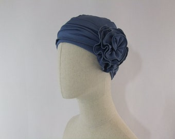 Grey chemo cap, chemo hat with flower, chemo headwear, headwrap lined, headcover
