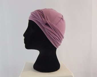 Mauve pink hat, lined chemo cap, chemo headwear, chemo hat, rayon lining, chemo caps