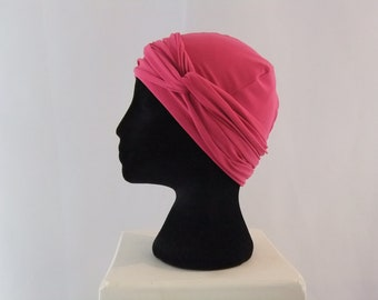 Pink chemo hat with headband, chemo headwear, headwrap lined
