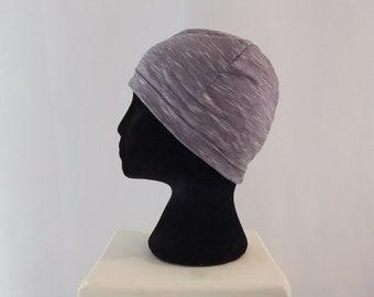 Purple white stripe chemo hat, chemo cap, beanie, lined head wear