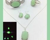 Sterling Jadite Uranium Glass Jewelry Set 925 Silver Jeanette McKee Jadeite Glass Ring, Earrings, Necklace, Bracelet