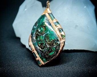Starry Night - Copper Ore Cabochon with Tourmaline Crystals - 24K Gold Setting - Designer Jewelry Pendant