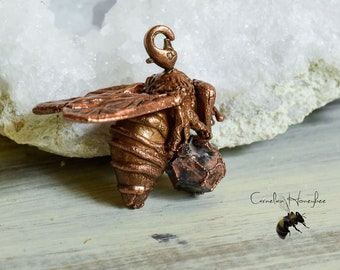 Honeybee with pyrite crystal - copper jewelry pendant