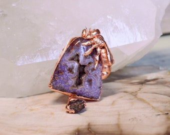 Honey Bee Pendant - Skep - Rare Purple Tube Agate And Rubies - Copper Setting