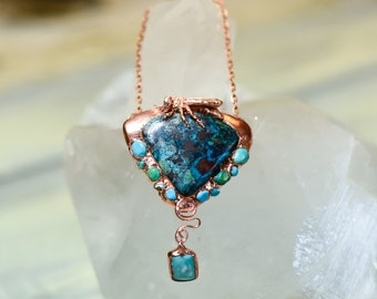 Honey Bee Pendant - Apache Gem Chrysocolla - Sleeping Beauty Turquoise - Rare Gemstones and Copper