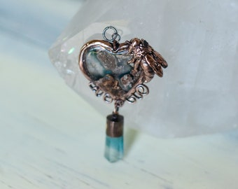 Honey Bee Heart Pendant - RARE Blue Needles Agate, Fluorite and Raw Sapphire