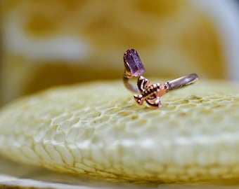 Handmade ring -Honey bee - Pink Tourmaline - Adjustable to sizes 5-8