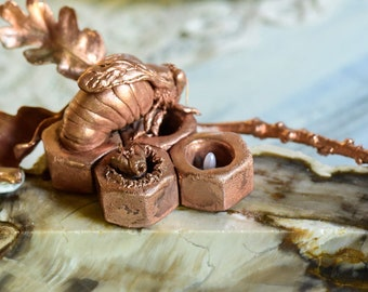 Copper Honey Bee Sculpture - On Petrified Wood - Queen Bee