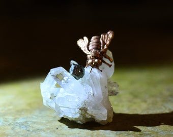 Hand sculpted copper honey bee on quartz cluster - with pyrite crystal - honeybee display