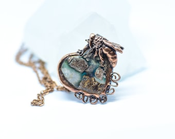 Honey Bee Heart Pendant - RARE Blue Needles Agate Gem Silica, and Raw Sapphire