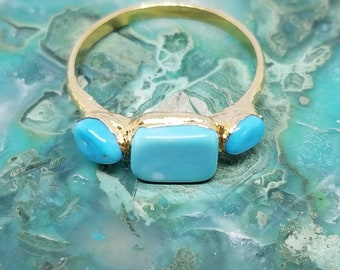 Turquoise and 24k Gold Plated Ring - Rare Sleeping Beauty Turquoise - size 8.5