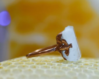 Handmade Aquamarine Honey Bee ring - dainty copper ring - size 6
