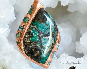 Starry Night - Copper Ore Cabochon with Tourmaline Crystals -  Designer Jewelry Pendant