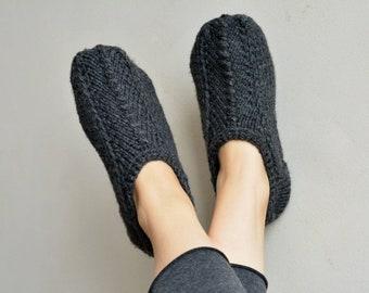 a84eea09c1f74d Charcoal Grey warm slipper socks knited slippers alpaca wool blend handknit wool  knitted slippers knit socks. MagikNeedle