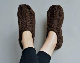 e122f152b78a4a Brown knitted slippers alpaca handknit slipper socks wool knit slippers  knit socks womens knitted socks wool