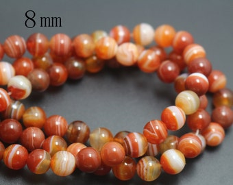 8mm Natural Red Madagasar Agate Beads,Natural Red Striped Agate Smooth and Round Beads,15 inches one starand