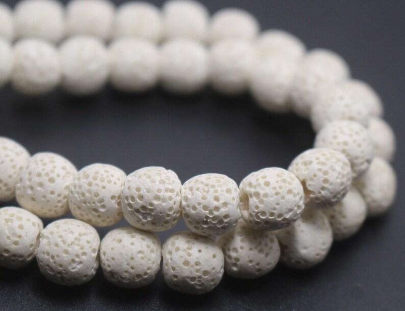 White Lava Round Shape BeadsWhite Volcanic Rock Beads6mm 8mm image 1