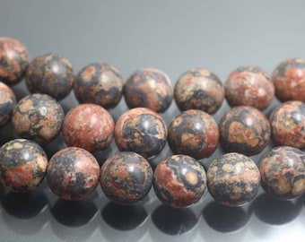 6mm/8mm/10mm/12mm Red Leopardskin Jasper Gemstone Beads,Smooth and Round Stone Beads,15 inches one starand