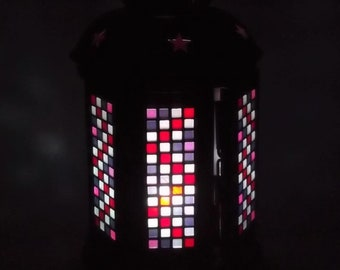 Led lantern with 6 faces in micro mosaics