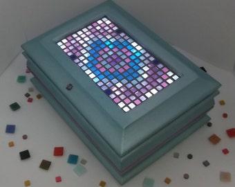 Illuminated jewelry box Led in micro mosaics with inlay inlay