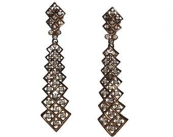 Trifari 1970's Zig-Zag Rhinestone Tie Drop Earrings, RARE