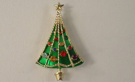 BJ Beatrix Christmas Tree Pin 3D Umbrella Mirror Green Enamel