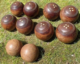 Antique Bocce Ball Set of Ten (10), Lawn Games, England, Oak and Lignum Vitae Wooden & Ivory