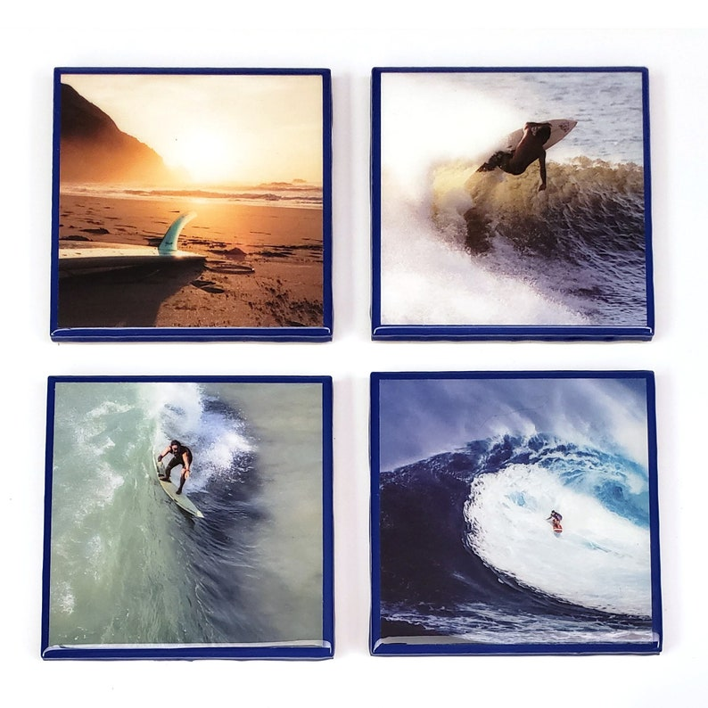 Surfing Resin Bar Coasters with Blue Edges