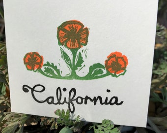 "Little California Poppy ""California"" Notecard"