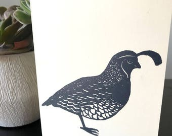 Handblock print of California Quail