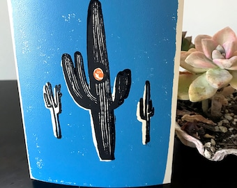 Handblocked Saguaro with blue background and owl peeping - Desert Series