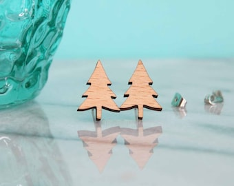 Wooden Christmas Tree Earring Studs