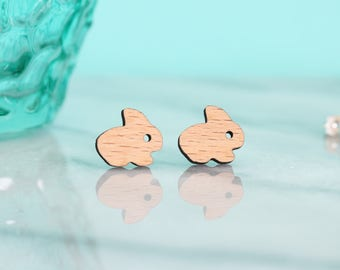 Adorable Bunny Rabbit Wooden Earrings