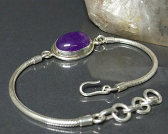 Purple Amethyst single stone Sterling silver chain link bracelet February birthstone everyday jewelry for women.