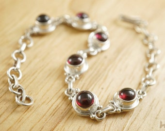 Red Garnet Sterling silver chain link bracelet Round Cabochon January birthstone jewelry for women length adjustable 6 - 7.5 inches
