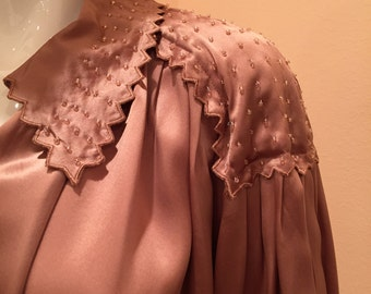 Vintage silk charmeuse taupe beaded blouse large to xl