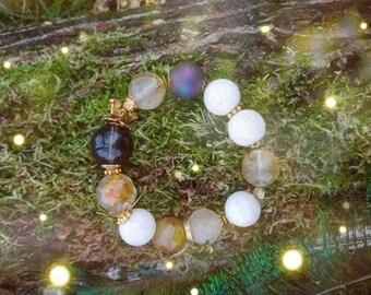 Rasayana . tourmaline quartz smoky quartz druzy agate white coral alcemist bracelet