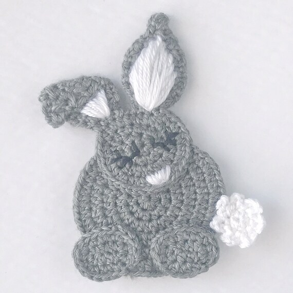 Crochet Sleepy Bunny Applique Pattern | Etsy