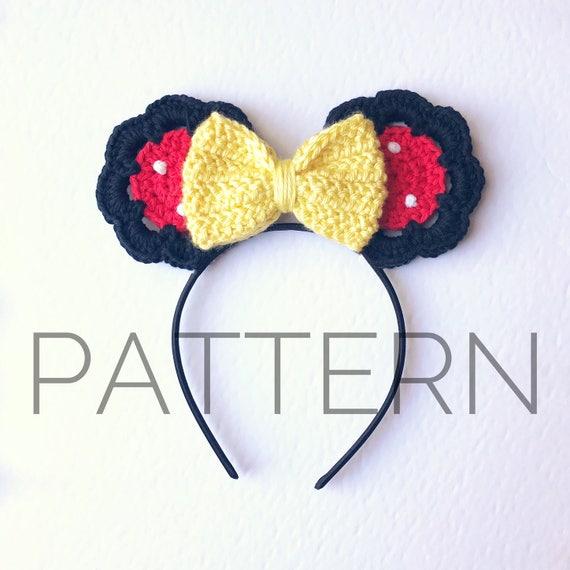 Minnie Inspired Crochet Mouse Ears//Crochet Pattern//Minnie | Etsy