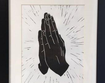 Praying Hands Linocut Print