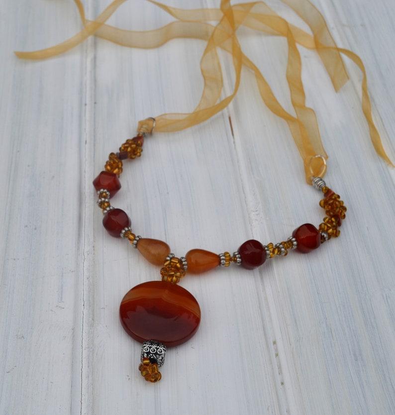 Dainty carnelian necklace with large pendant Adjustable love necklace Cute orange necklace Gemstone energy necklace