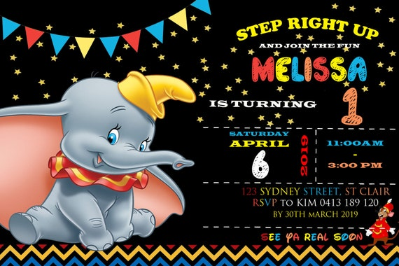 Black Disney Dumbo Birthday Invitation - 4 x 6/5 x 7 Birthday Invitation -  DIGITAL INVITATION ONLY