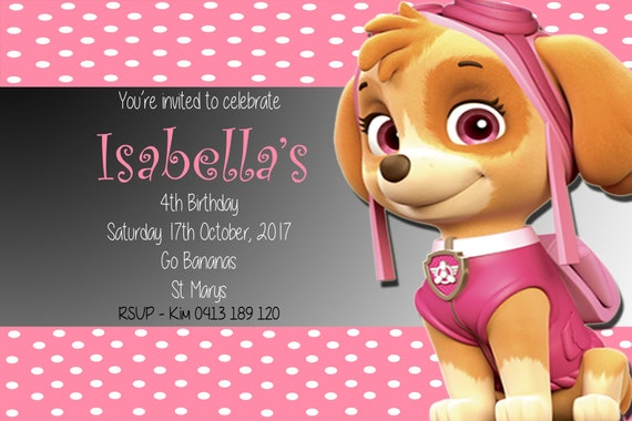 Paw Patrol Skye Birthday Invitation 4 X 6 5 7